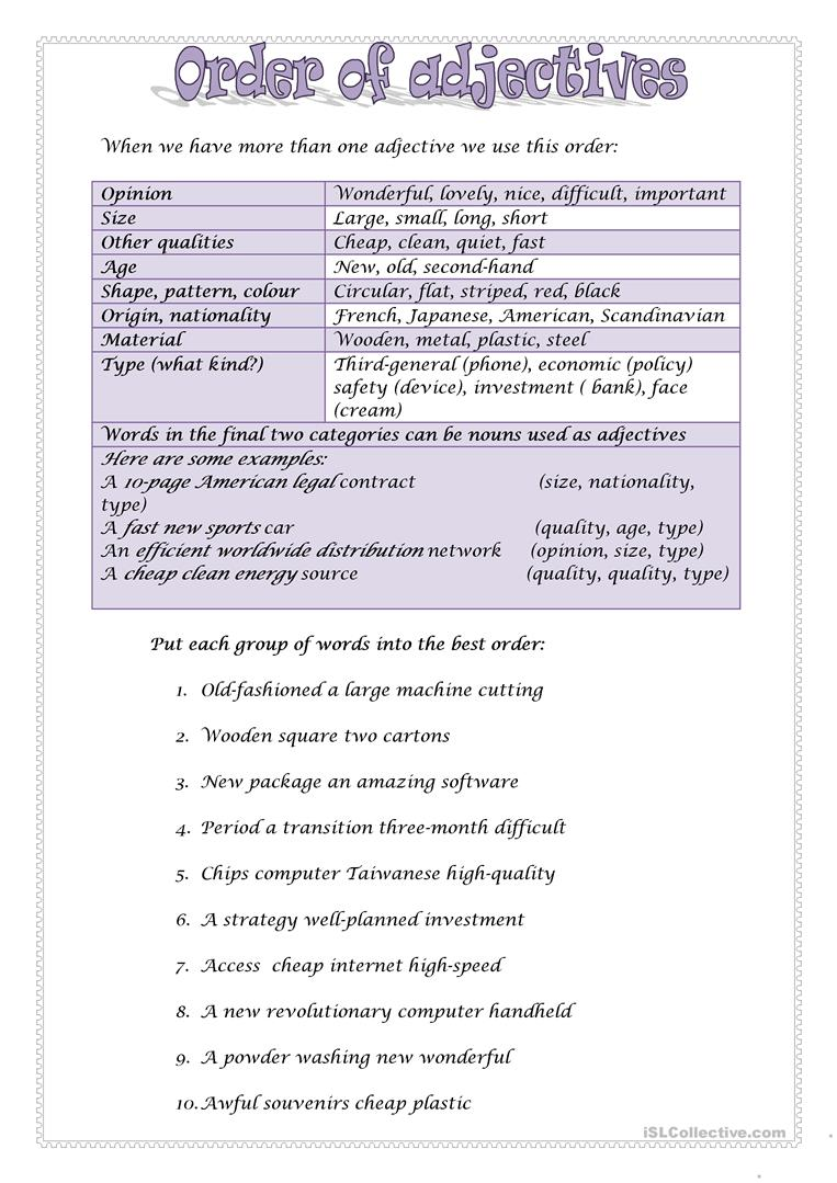 medium resolution of ORDER OF ADJECTIVES 2 - English ESL Worksheets for distance learning and  physical classrooms
