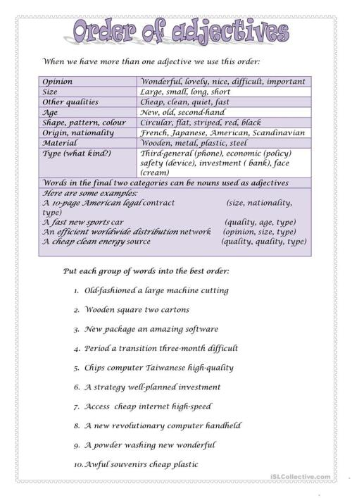 small resolution of ORDER OF ADJECTIVES 2 - English ESL Worksheets for distance learning and  physical classrooms