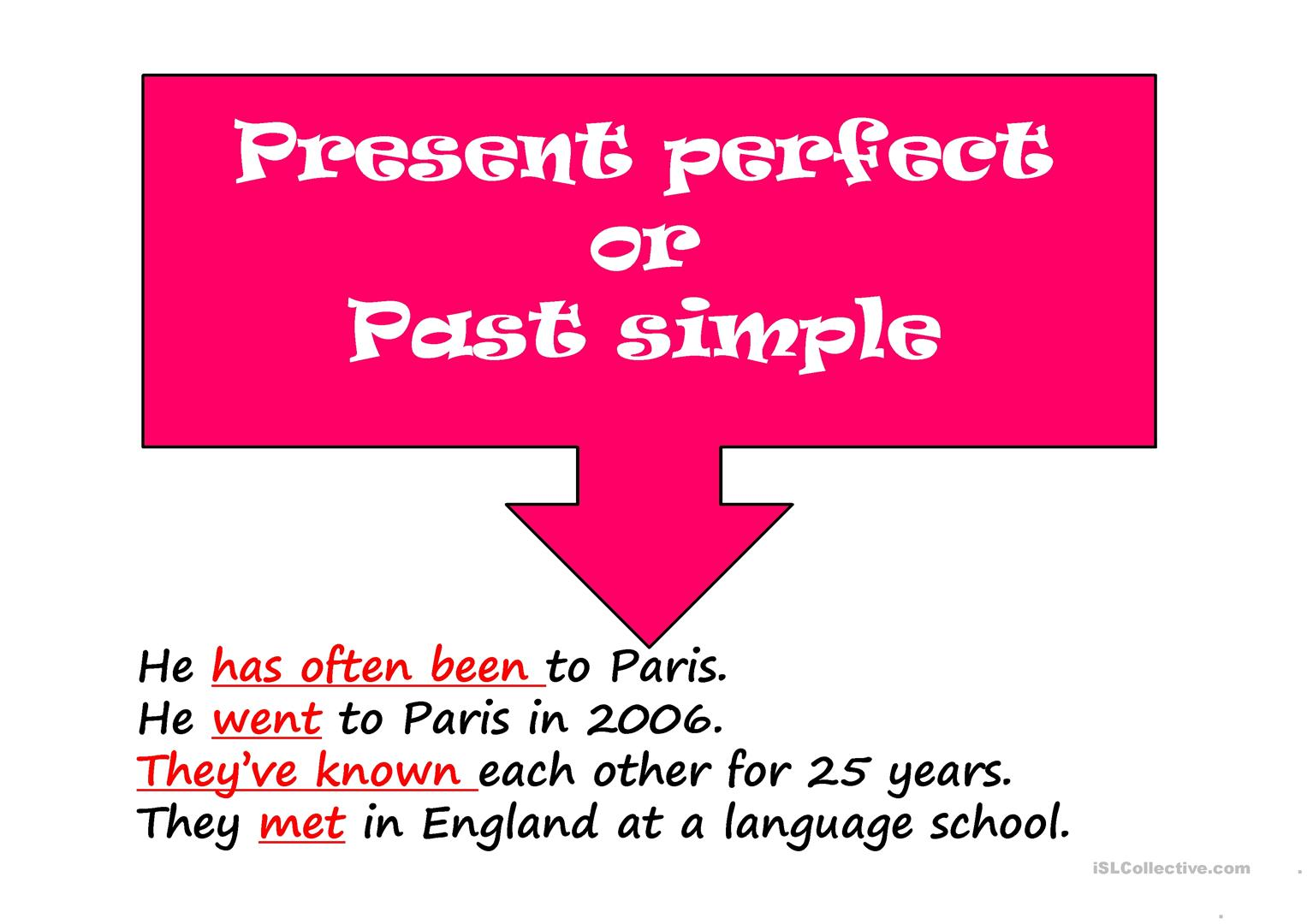 Present Perfect Or Past Simple Worksheet