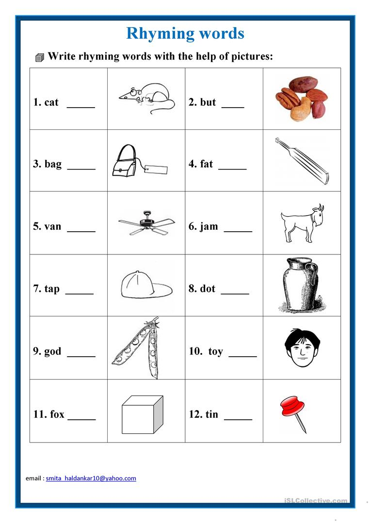 hight resolution of English ESL rhyming words worksheets - Most downloaded (20 Results)
