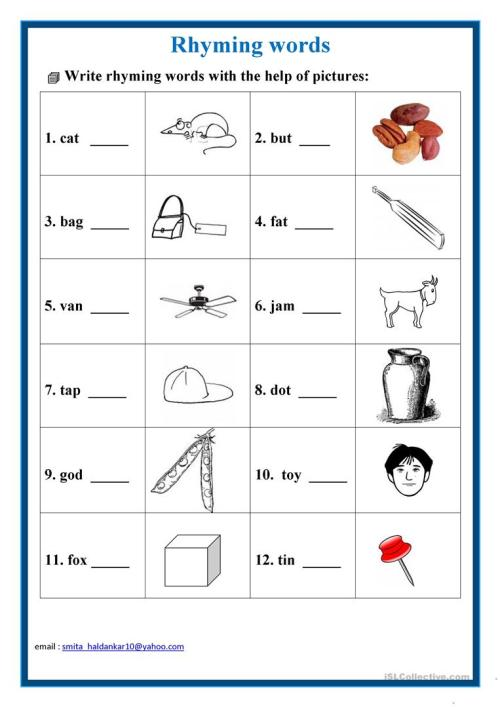 small resolution of English ESL rhyming words worksheets - Most downloaded (20 Results)