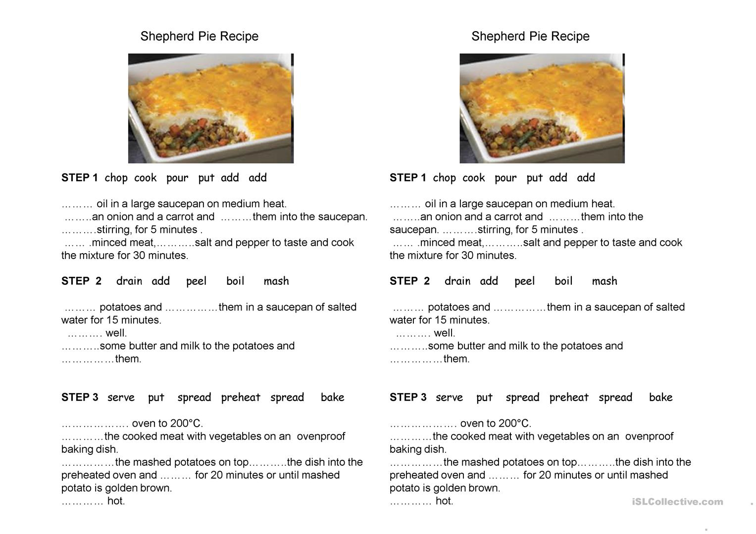 Shepherd Pie Recipe Worksheet
