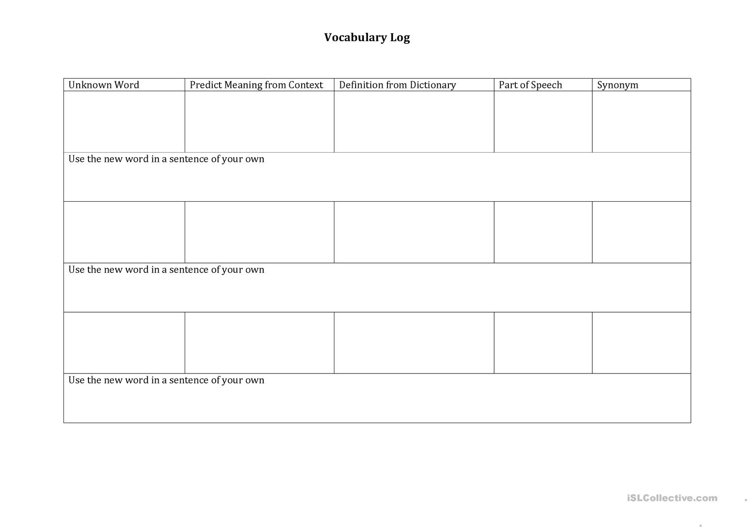 Vocabulary Log Worksheet