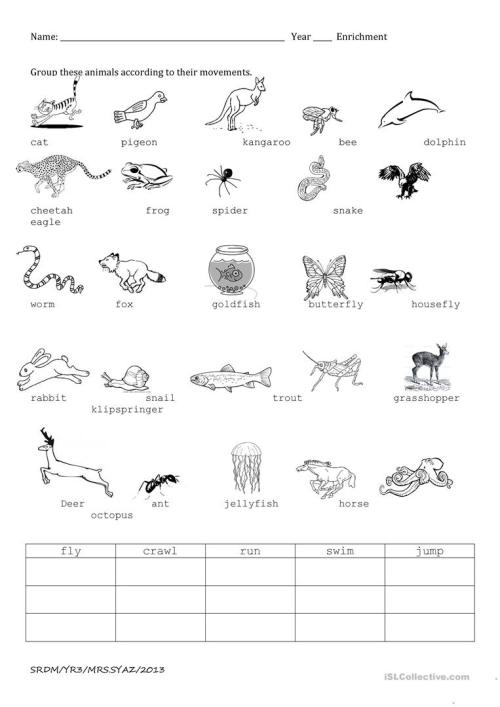 small resolution of Animal movements - English ESL Worksheets for distance learning and  physical classrooms