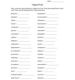 Clipped Words - English ESL Worksheets for distance learning and physical  classrooms [ 1079 x 763 Pixel ]