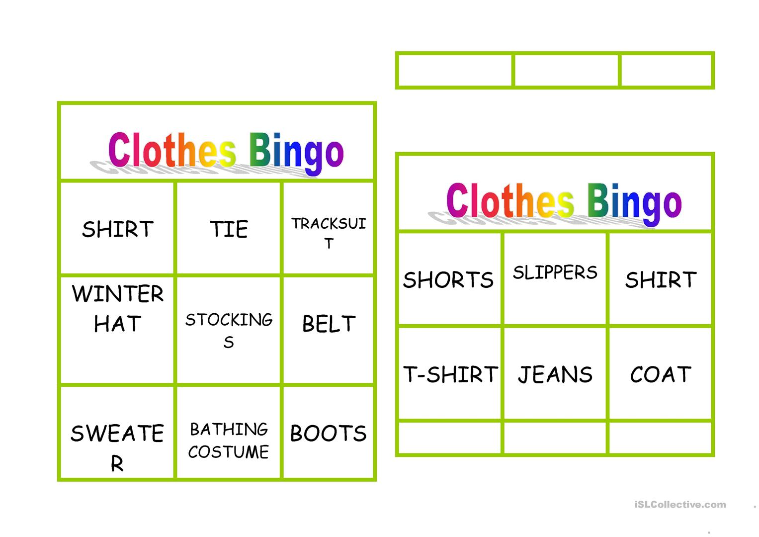 Clothes Bingo Worksheet