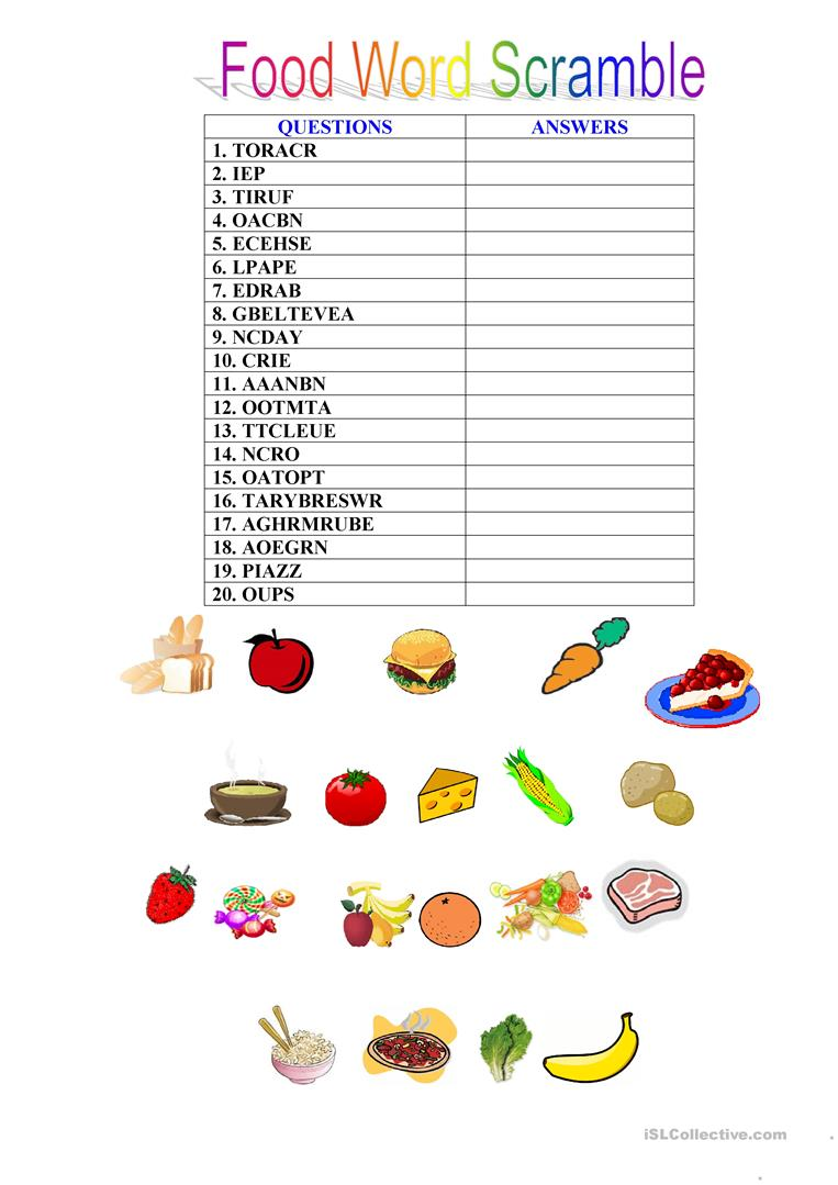 hight resolution of English ESL word scramble worksheets - Most downloaded (55 Results)