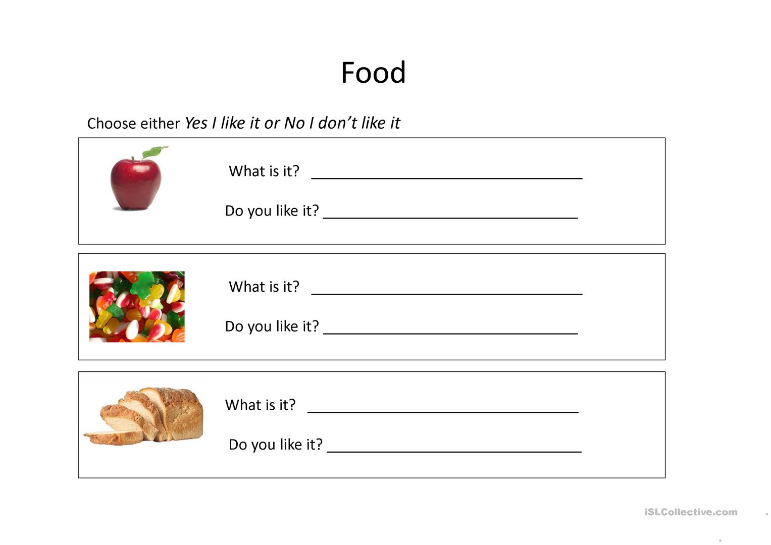 Food Worksheet Worksheet