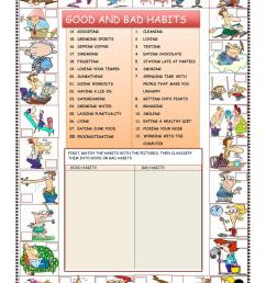 GOOD AND BAD HABITS - English ESL Worksheets for distance learning and  physical classrooms [ 1079 x 763 Pixel ]