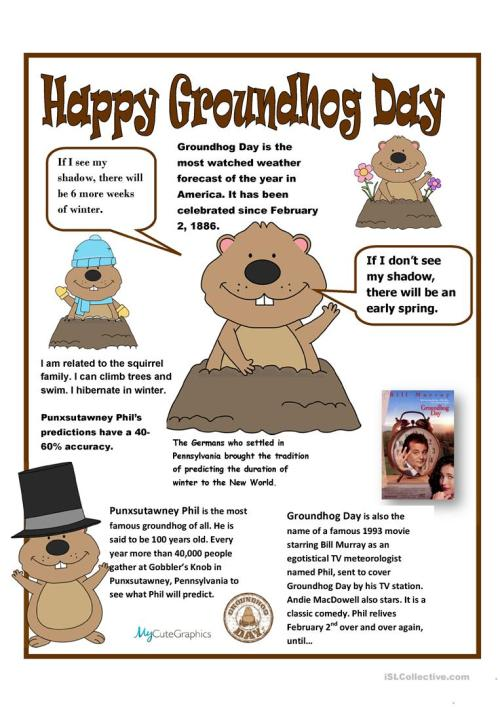 small resolution of English ESL groundhog day worksheets - Most downloaded (10 Results)