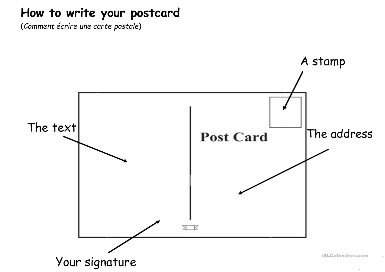 How To Write A Postcard 2 Worksheet