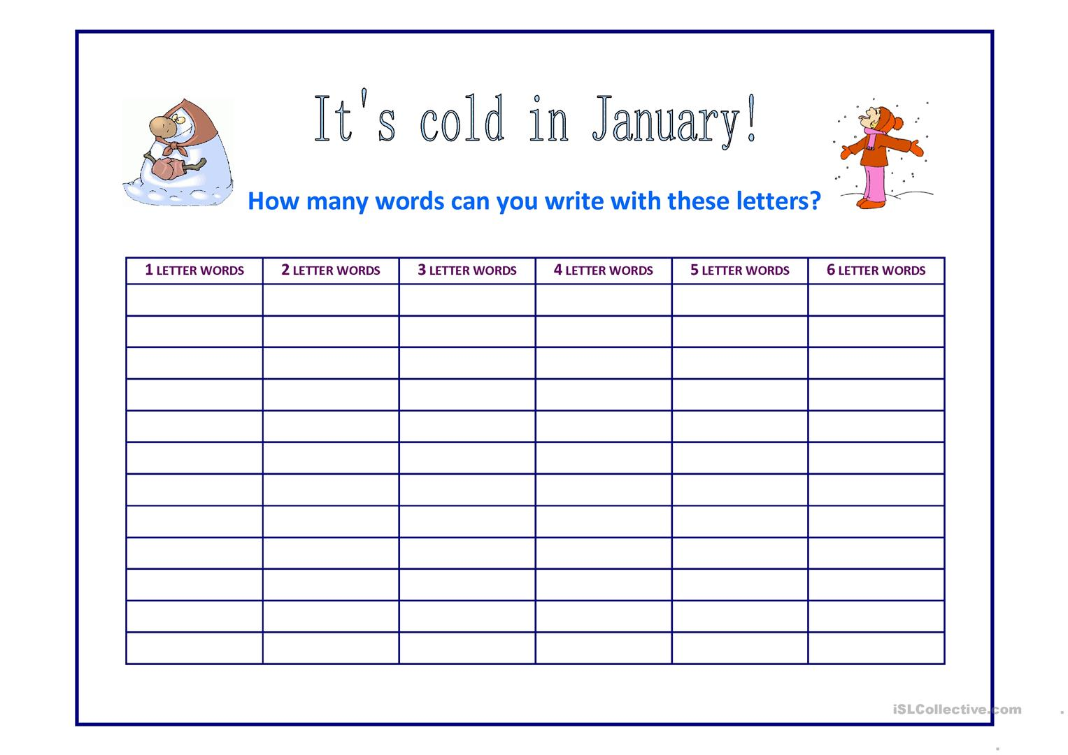 It S Cold In January Worksheet