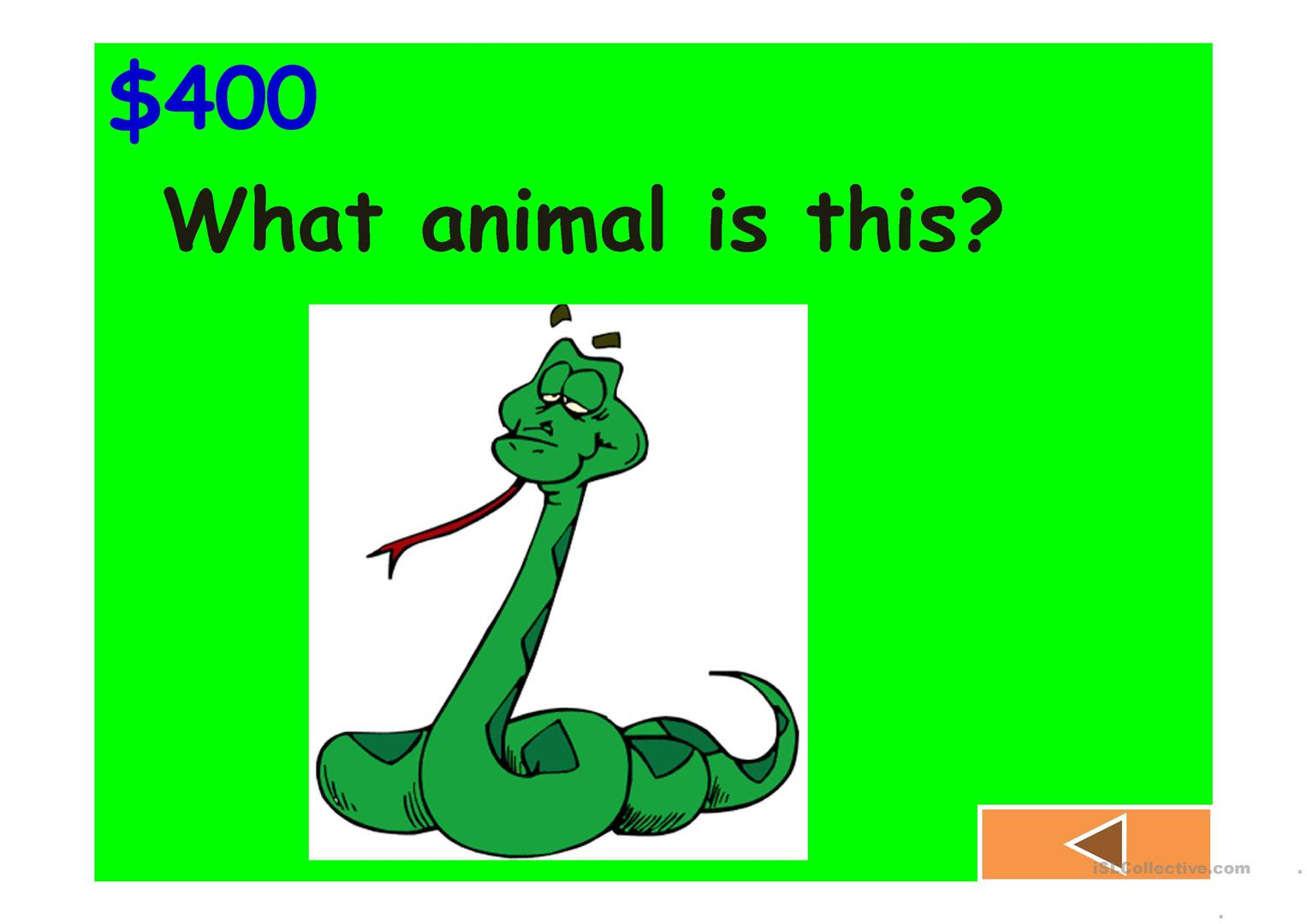 Jeopardy Game Body Animals Classroom Clothes And Numbers Ii Worksheet