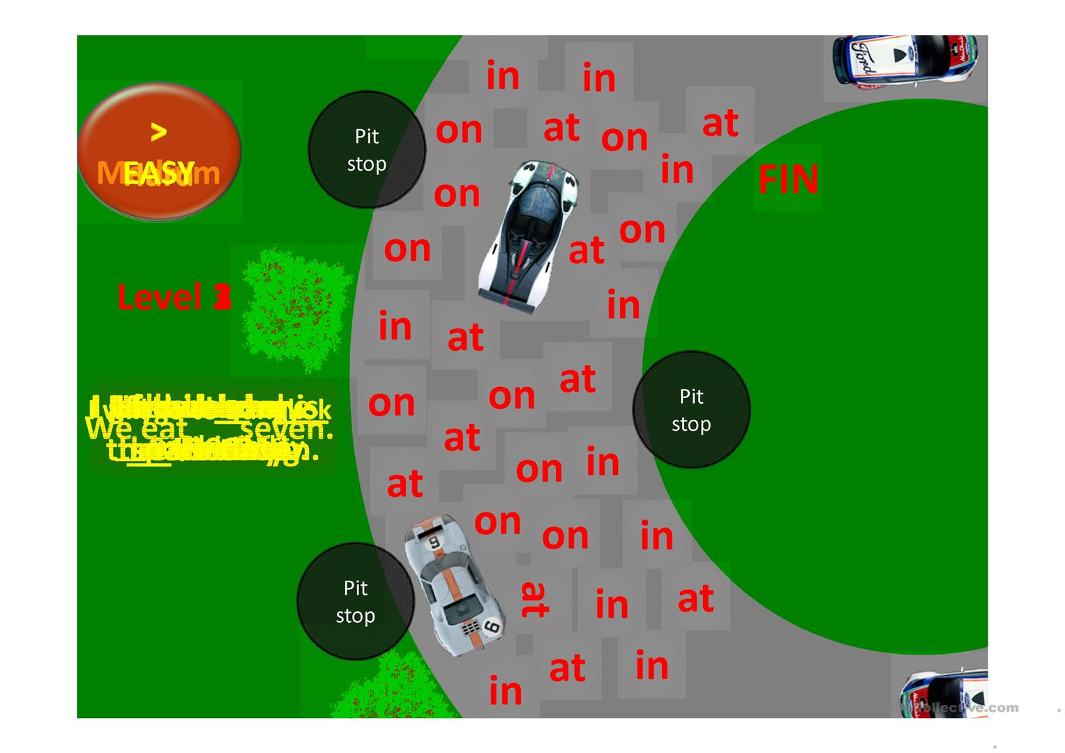 Prepositions Of Time One Loop Racetrack Cursor Game