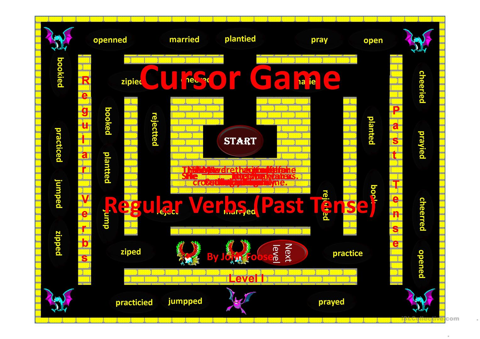 Regular Verbs Past Tense Cursor Game Worksheet