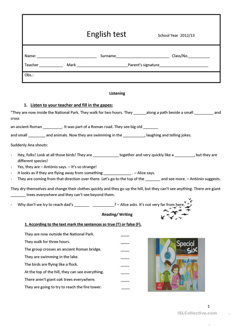 medium resolution of test 6th grade - English ESL Worksheets for distance learning and physical  classrooms