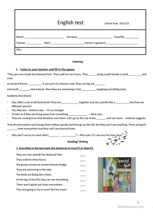 small resolution of test 6th grade - English ESL Worksheets for distance learning and physical  classrooms