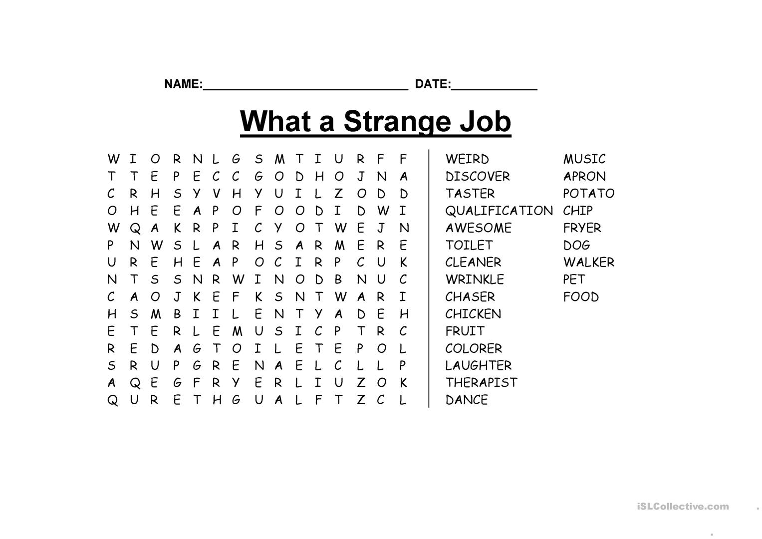What A Strange Job Wordsearch Worksheet