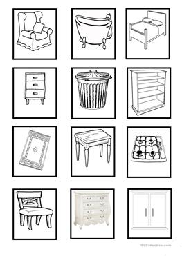 15 FREE ESL household objects worksheets