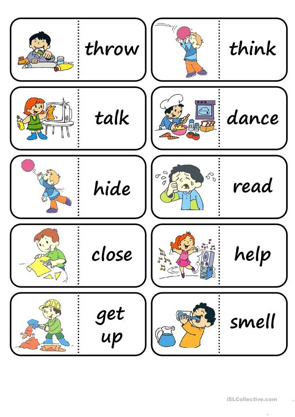 Action Words Domino Worksheet