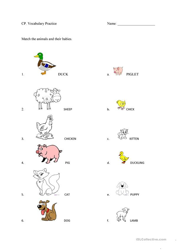 Farm Animals and their babies worksheet  Free ESL
