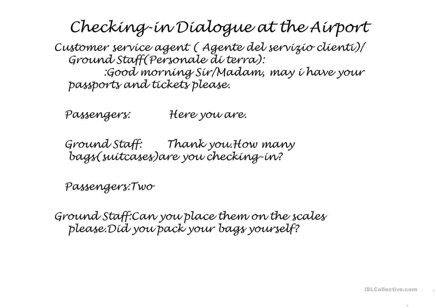 Checking In At The Airport Worksheet