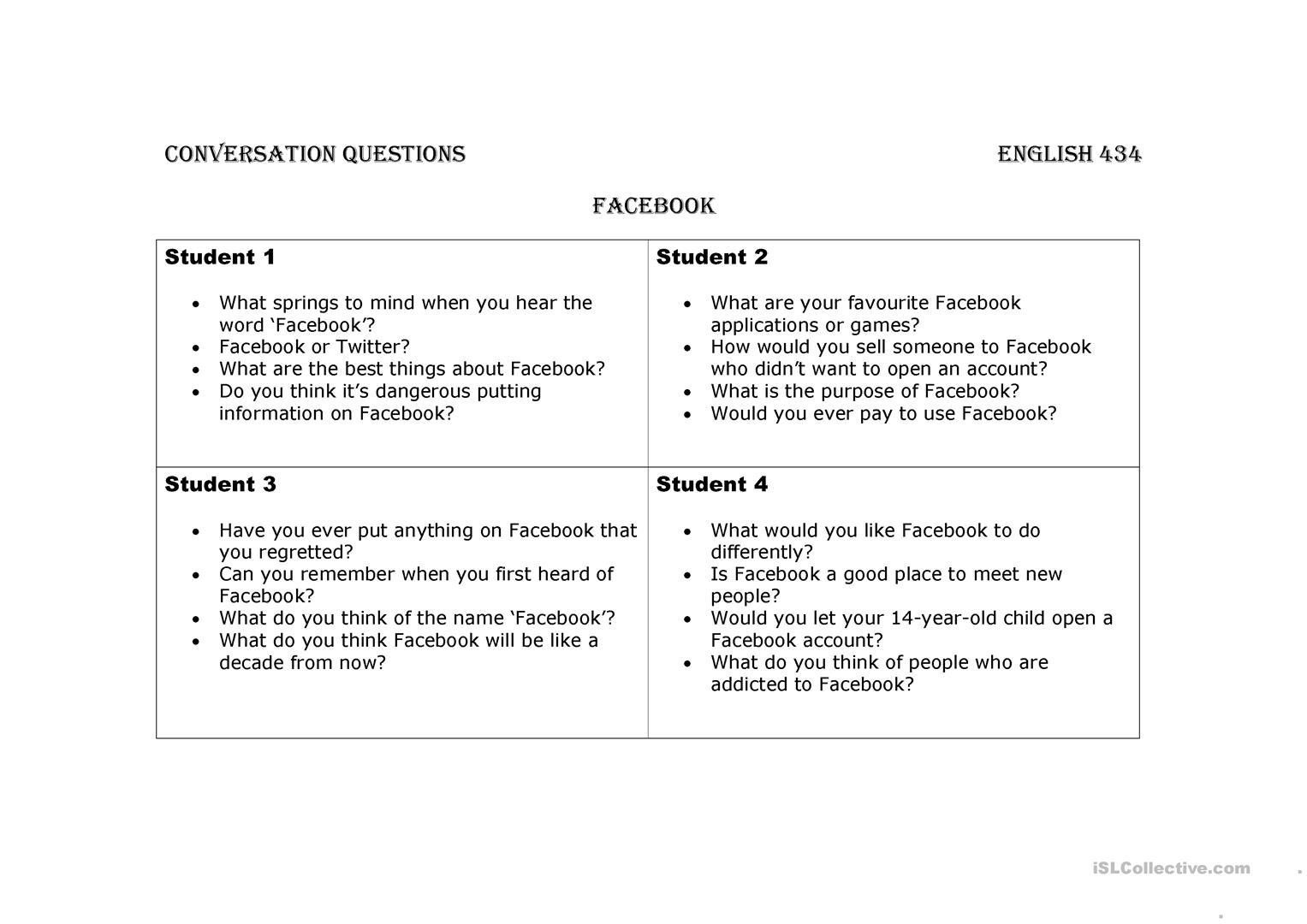 Facebook Worksheet Esl