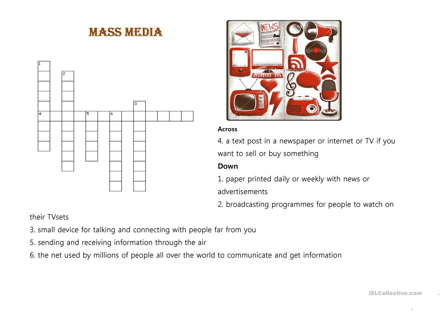 Crossword Puzzle Mass Media Worksheet