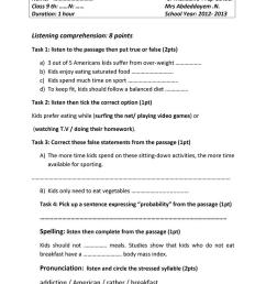 devoir 9 th grade - English ESL Worksheets for distance learning and  physical classrooms [ 1079 x 763 Pixel ]