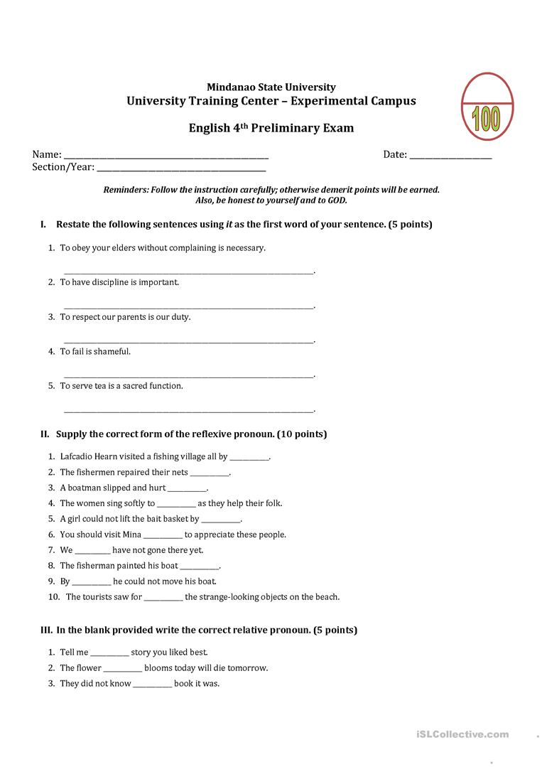 medium resolution of Grade 7 Unit Test - English ESL Worksheets for distance learning and  physical classrooms