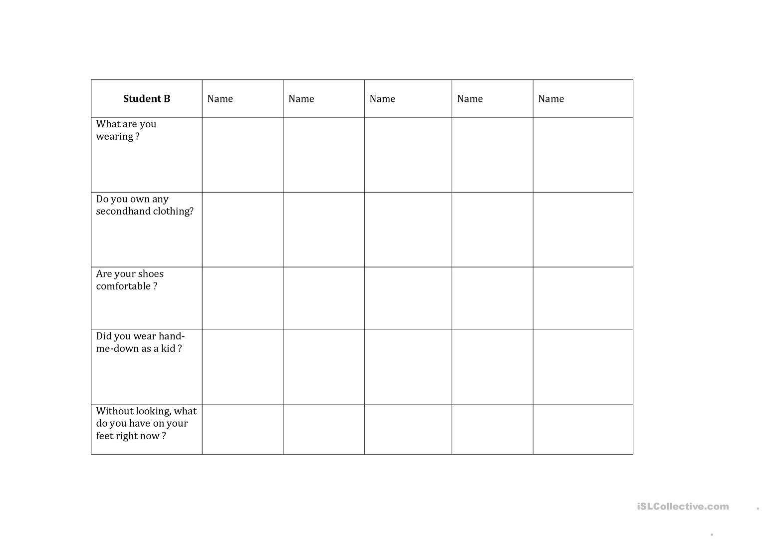 Information Gap Clothing Worksheet