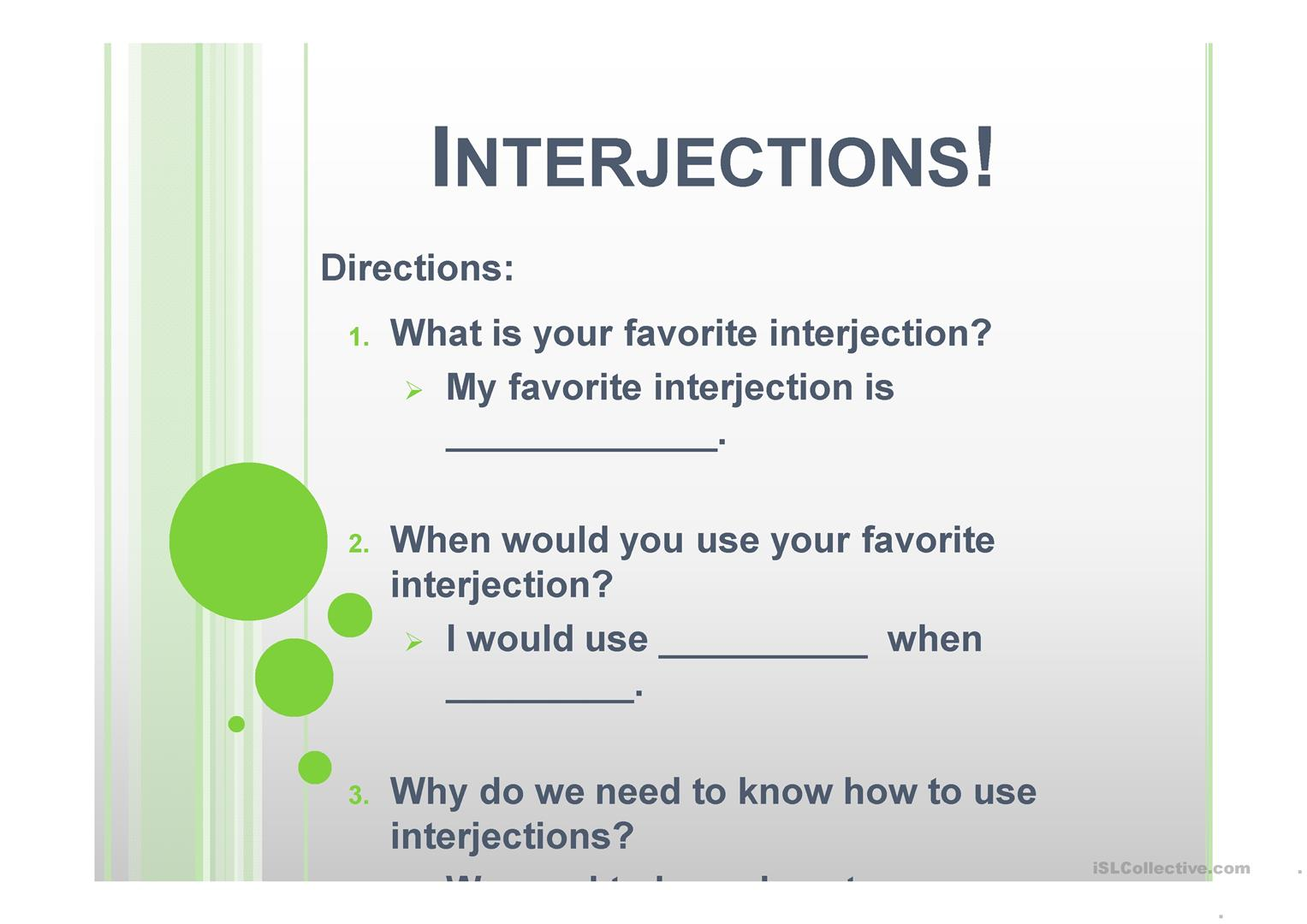 Interjections Game Worksheet