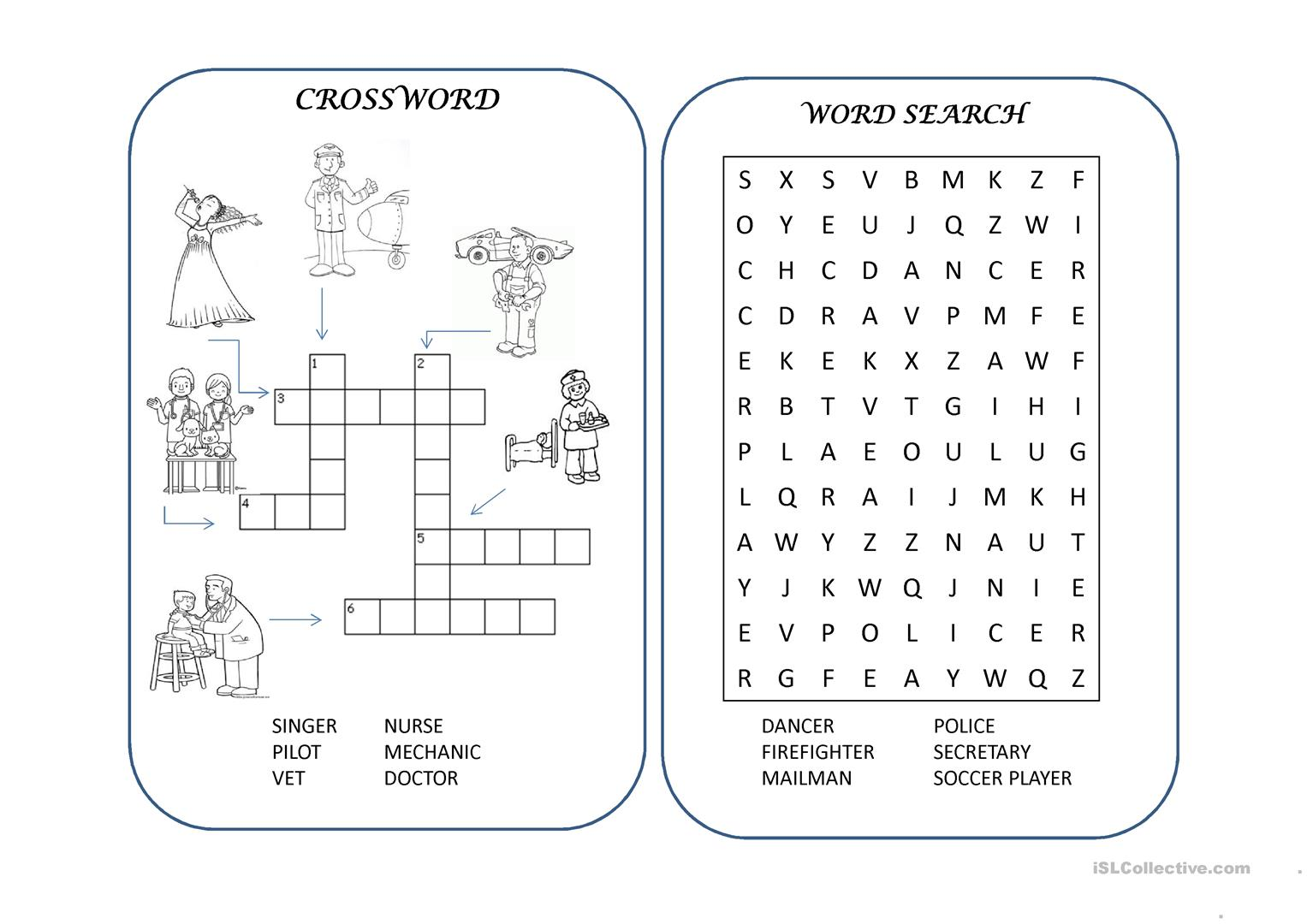 Jobs Crossword Wordsearch Worksheet