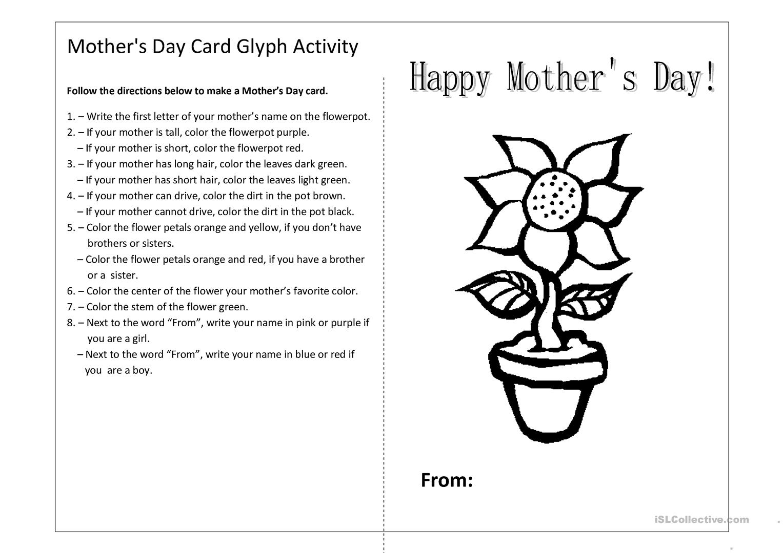 Mother S Day Glyph Worksheet