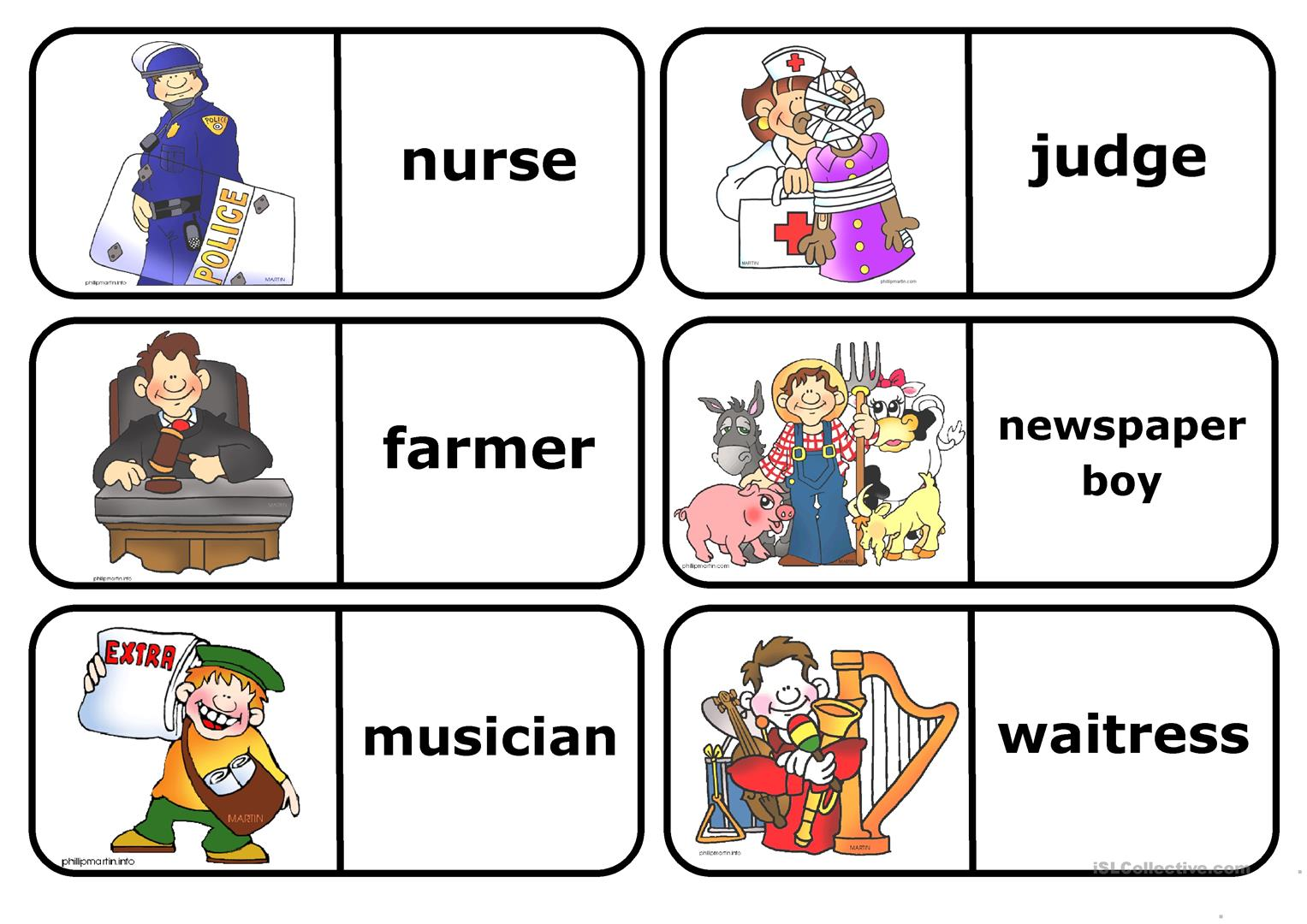 Occupations Domino Worksheet