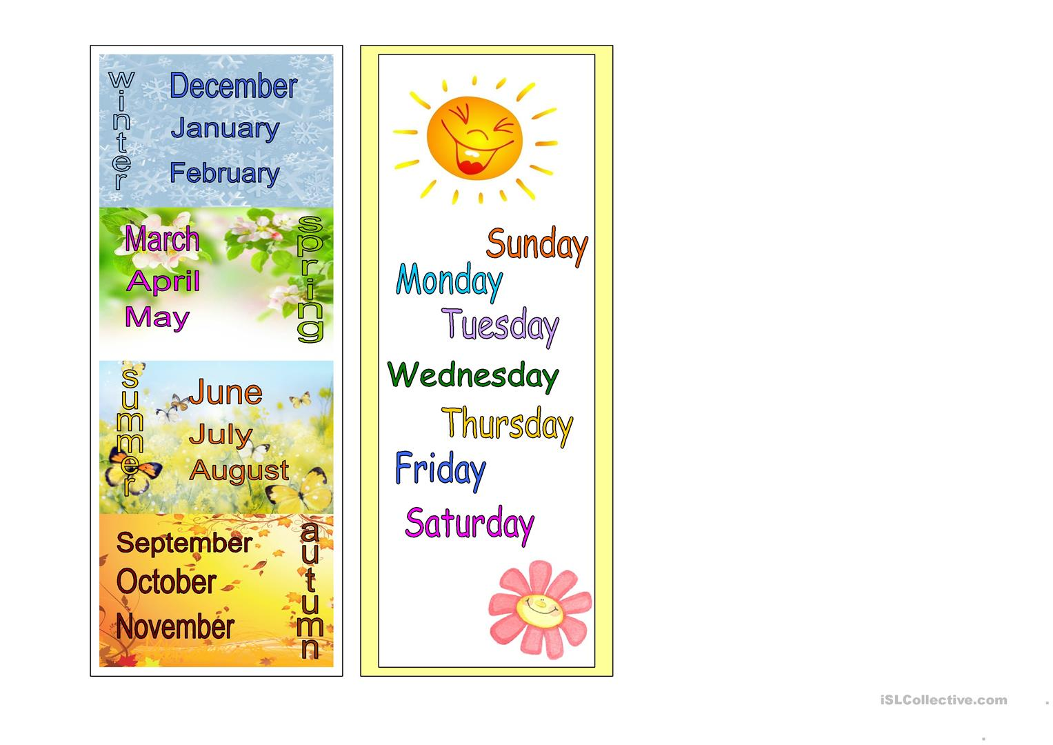 Seasons Months Days Of The Week