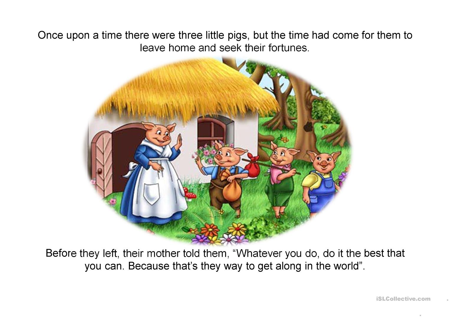 The Three Little Pigs Story Worksheet