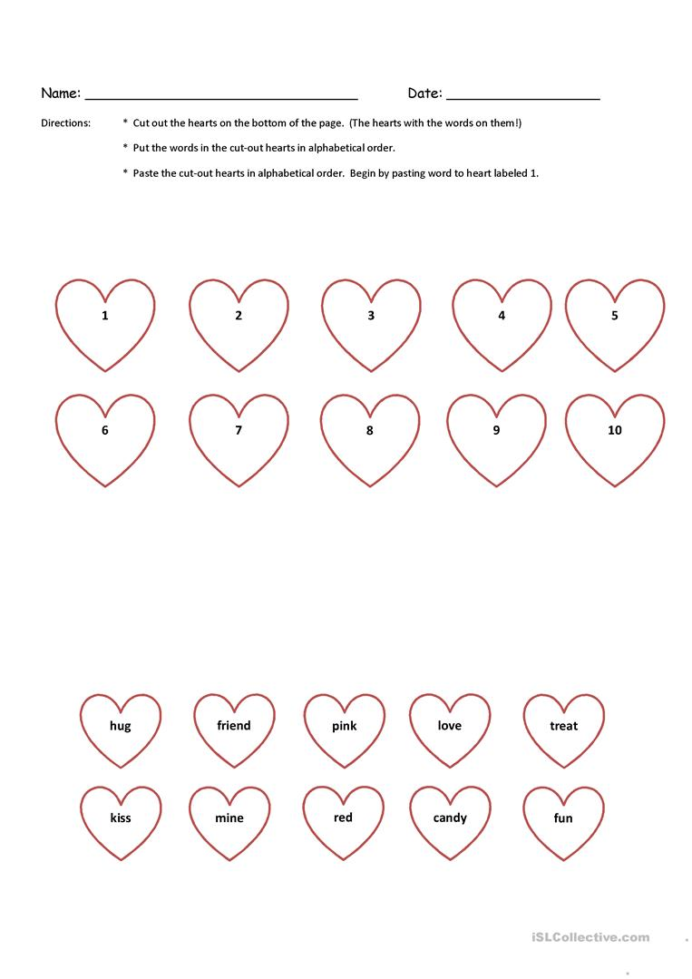 medium resolution of Valentine Cut-N-Paste Alphabetical Order K \u0026 1st Grade with Key - English  ESL Worksheets for distance learning and physical classrooms