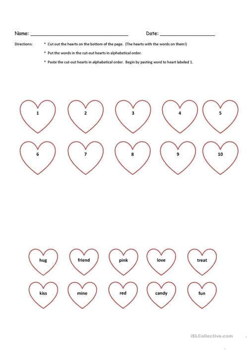 small resolution of Valentine Cut-N-Paste Alphabetical Order K \u0026 1st Grade with Key - English  ESL Worksheets for distance learning and physical classrooms