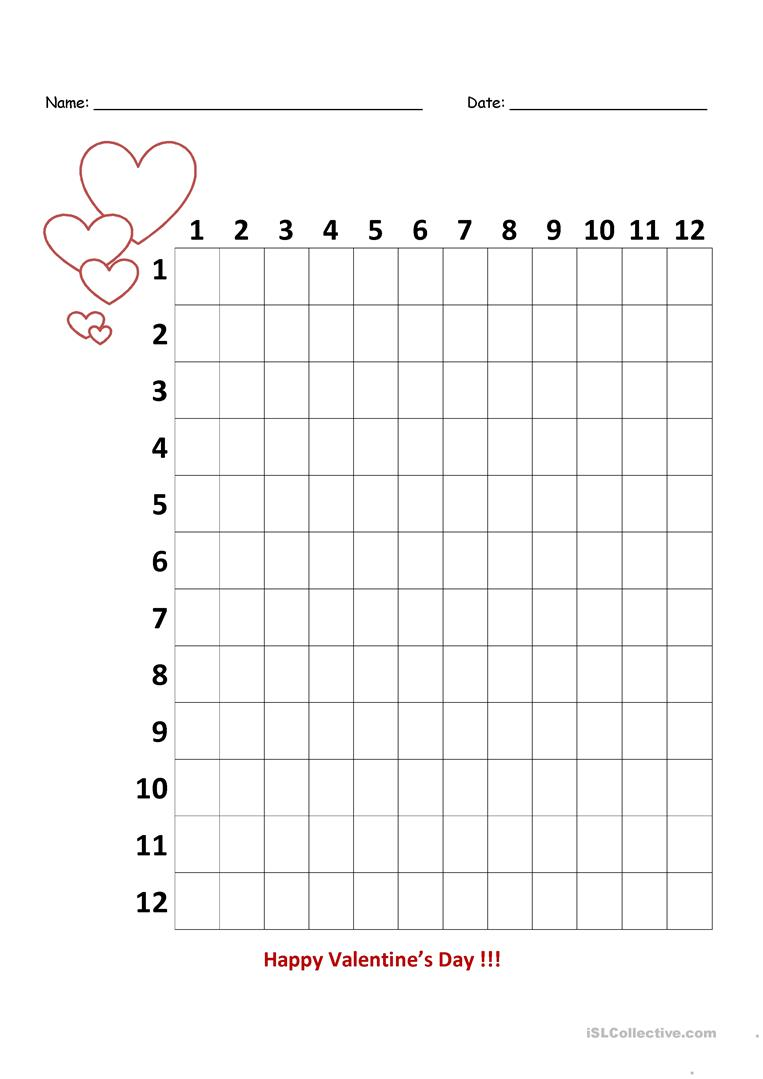 medium resolution of Valentine's Day Multiplication Chart - 3rd Grade - English ESL Worksheets  for distance learning and physical classrooms