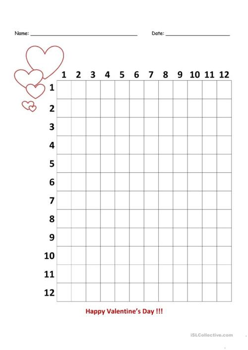 small resolution of Valentine's Day Multiplication Chart - 3rd Grade - English ESL Worksheets  for distance learning and physical classrooms