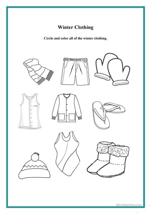 small resolution of Winter Clothing - English ESL Worksheets for distance learning and physical  classrooms