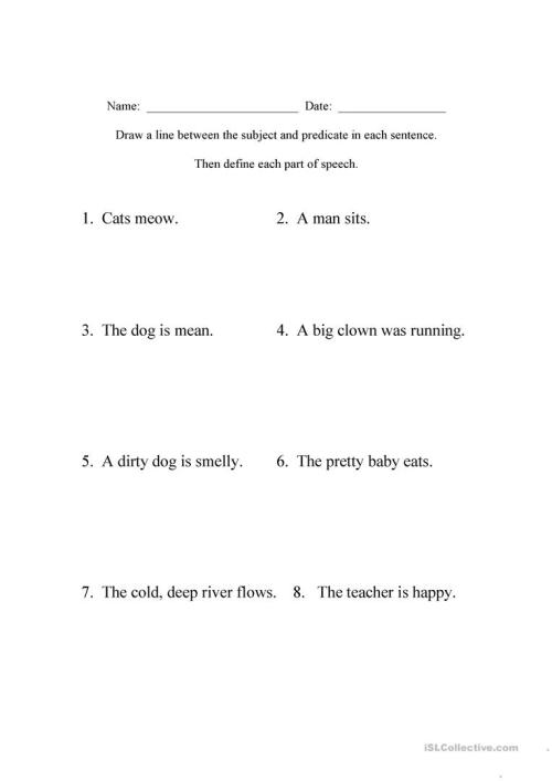 small resolution of Beginning Sentence Diagramming - English ESL Worksheets for distance  learning and physical classrooms