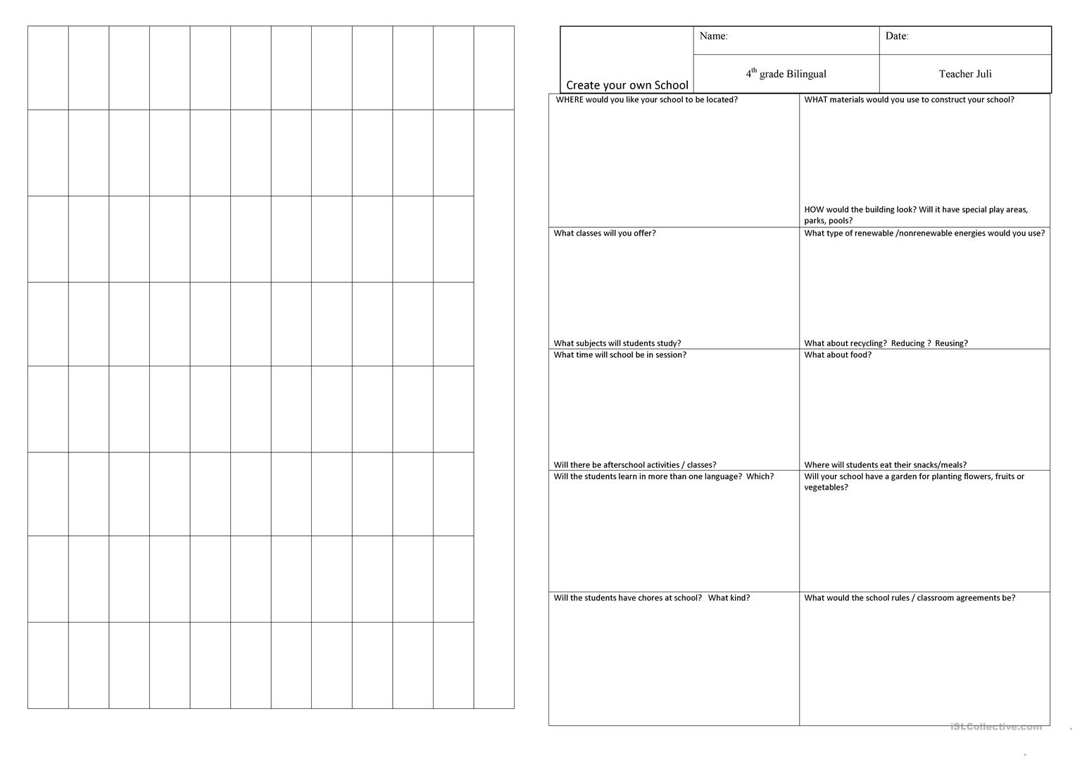 Create Your Own School Worksheet