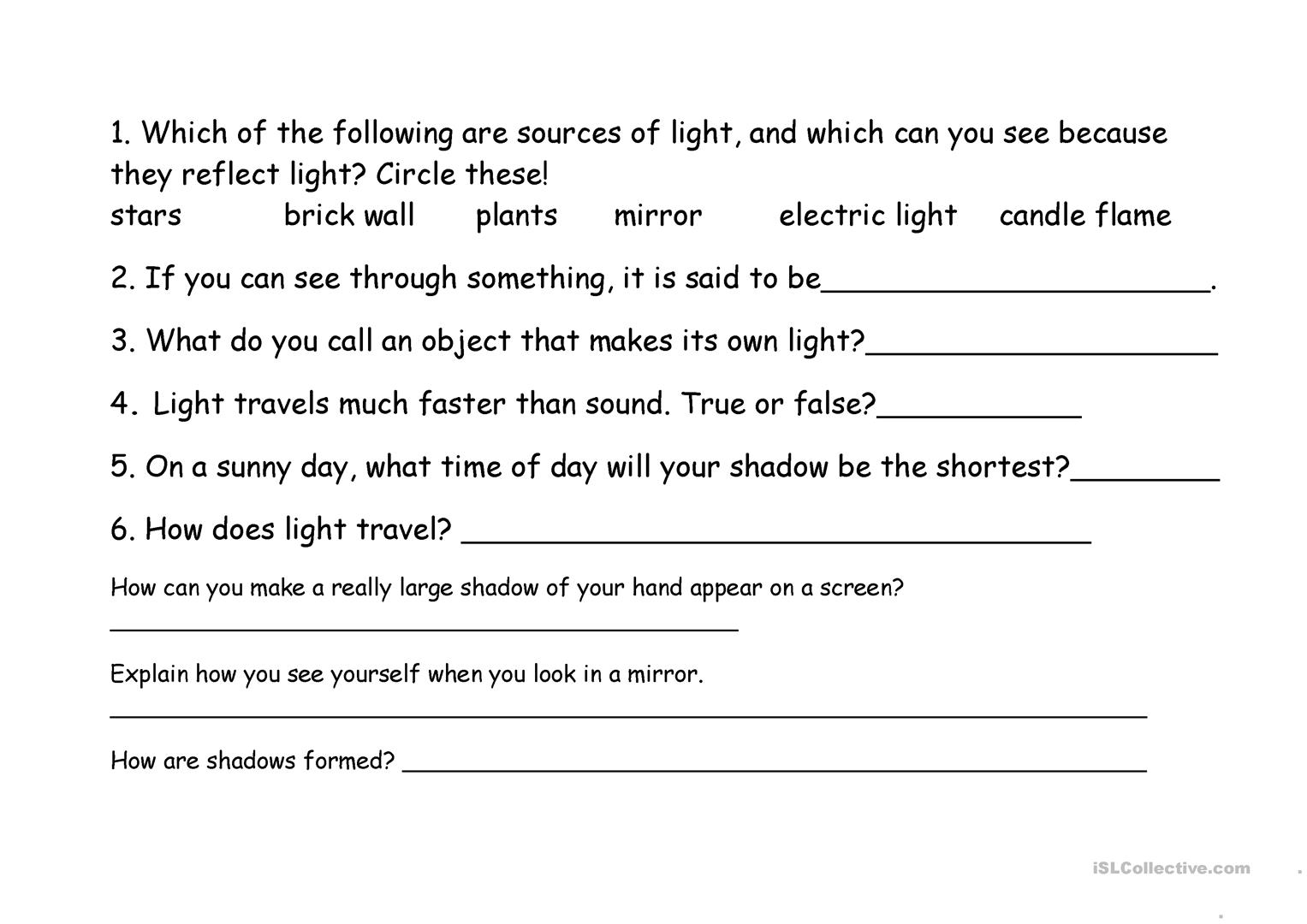 Facts About Light Quiz Worksheet
