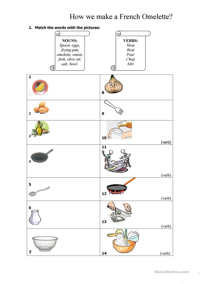 Free Worksheet Download: 8 Free Esl Cooking Vocabulary Worksheets of French Worksheets on azhce.us