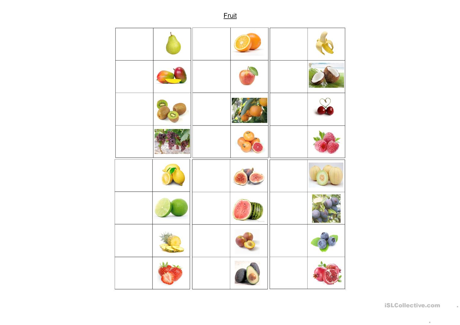 Fruit Blank Picture Dictionary Worksheet
