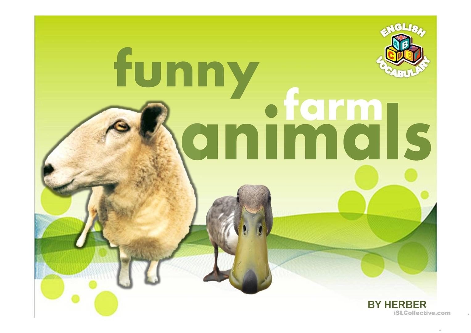 Funny Farm Animals Ppt Worksheet