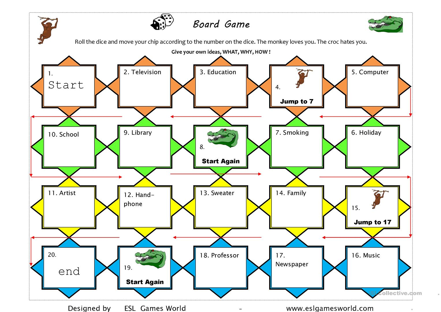 Game Board What Do You Think About Worksheet