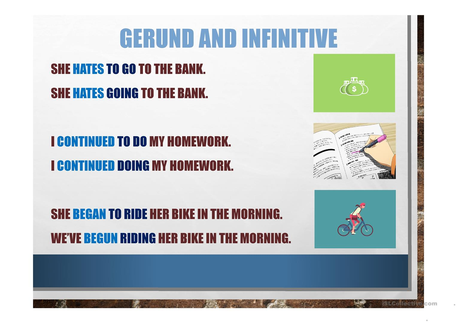 Gerunds And Infinitives Ppt Presentation Worksheet
